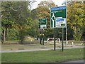 SP1391 : Trunk road signs, A452 Chester Road, Pype Hayes by Robin Stott