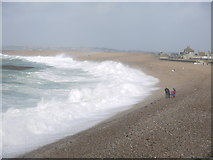 SY6873 : St Jude storm in Chesil Cove Portland by sue hogben
