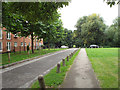 SP2865 : Path and road into Priory Park, Warwick by Robin Stott