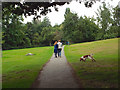 SP2865 : Mother and daughter dog-walk after school, Priory Park, Warwick by Robin Stott