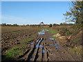 TL6723 : Farm track on arable field, Stebbing by Roger Jones
