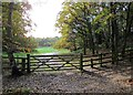 SO8077 : Gate across a track in Habberley Valley, near Kidderminster by P L Chadwick