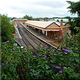 SP1955 : Flowery view of Stratford-upon-Avon railway station by Jaggery