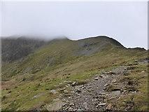 SH6359 : Ridge path between Cwm Clyd and Cwm Cywion to Y Garn by Jeremy Bolwell