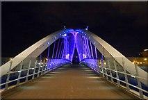 SJ8097 : Millennium Bridge, Salford Quays by Steve  Fareham
