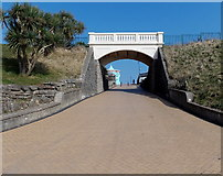 ST1166 : White footbridge over a path, Barry Island by Jaggery