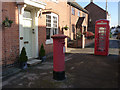 SK6412 : Queniborough, Main Street - postbox and K6 telephone kiosk by Alan Murray-Rust