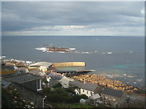 SW3526 : Looking down on Sennen Cove Harbour from Stone Chair Lane by Rod Allday