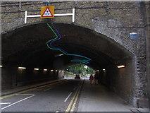TQ3078 : Lighting design under bridge New Spring Gardens Walk, Vauxhall by Colin Park