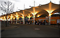 TQ3884 : Stratford Bus Interchange canopies at dusk by Jim Osley