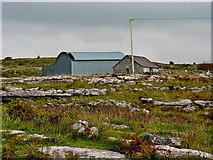 M2300 : Burren - Poulnabrone Dolmen Site - Farm Buildings amongst the Stones & Grass by Joseph Mischyshyn