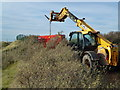 TF6943 : Positioning a pump near the 10th green - Hunstanton Golf Course by Richard Humphrey