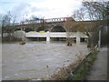 SP3065 : Edmondscote weir submerged, River Leam in spate by Robin Stott