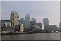 TQ3680 : Canary Wharf buildings from the Thames by Jim Barton
