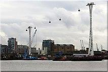 TQ3980 : The Emirates cable car crosses Thames Wharf by Steve Daniels