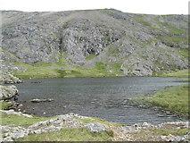SH6358 : Shoreline view of Llyn y Cwn by Peter S