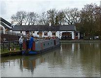 SP6989 : Narrow boat moored at Foxton Locks by Mat Fascione