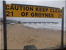 SZ1191 : Boscombe: keep clear of groyne 21 by Chris Downer