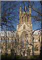 SE6132 : Selby Abbey through the trees by Alan Murray-Rust