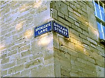 SP0202 : Victorian enamel street signage for Spitalgate Lane and Dollar Street in Cirencester by Paul Best
