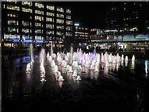 SJ8498 : Piccadilly Gardens Fountains at Christmas (1) by David Dixon