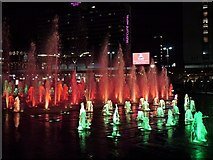 SJ8498 : Piccadilly Gardens Fountains at Christmas (6) by David Dixon