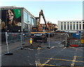 ST3187 : Yellow Hyundai demolition machines at the edge of the former bus station, Newport by Jaggery