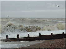 TQ1602 : Surf and groyne on East Worthing beach, West Sussex by Roger  Kidd