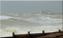 TQ1602 : Turbulent seas near Worthing, West Sussex by Roger  Kidd