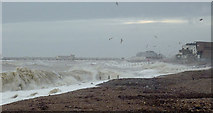 TQ1602 : Rough seas on the beach at East Worthing, West Sussex by Roger  Kidd