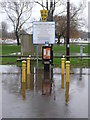 SZ1592 : Christchurch: car park ticket machine stands in floodwater by Chris Downer
