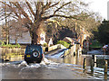 TQ5365 : River Darent in flood: fording through by Stephen Craven