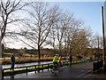 TQ5365 : Cyclists, Eynsford village by Stephen Craven