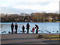 SE2141 : Feeding the ducks at Yeadon Tarn by Stephen Craven