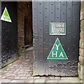 SO5504 : YHA triangles on the castle gates in St Briavels by Jaggery