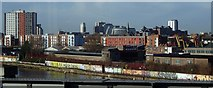 SJ8297 : Tram view from near Cornbrook Station by Andrew Hill