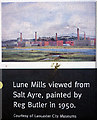 SD4662 : 'Lune Mills from Salt Ayre, painted by Reg Butler in 1950. Courtesy of Lancaster City Museums' by Karl and Ali