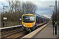 SJ4886 : First TransPennine Class 185, 185138, Hough Green railway station by El Pollock