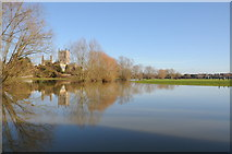 SO8832 : Tewkesbury Abbey and flooded River Swilgate by Philip Halling