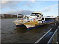TQ3878 : High speed ferry at Greenwich Pier by Oliver Dixon