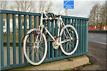 J3472 : White bicycle, Ormeau Bridge, Belfast by Albert Bridge