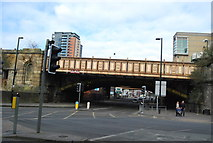 SJ8398 : Railway Bridge over A6041 (Chapel St) by N Chadwick