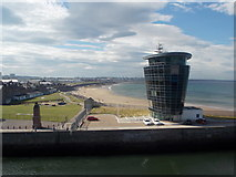 NJ9505 : Aberdeen: harbour control tower and beach by Chris Downer