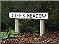 TM2548 : Duke's Meadow sign by Geographer