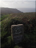 SW4538 : Zennor: National Trust signpost on Zennor Head by Chris Downer