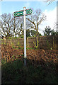 TM2647 : Byway/footpath sign on Broomheath by Adrian Cable