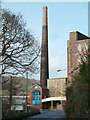 SX6356 : Stowford Mill - engine house and chimney by Chris Allen
