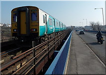 ST1166 : Across the viaduct to Barry Island station by Jaggery