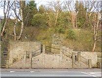 SE0724 : Twin Flight of steps in Burnley Road (A646) by Michael Steele