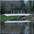 SU8461 : Footbridge at entrance to Sandhurst Balancing Pond by Bob Hallsworth